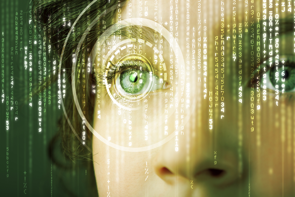 Modern cyber woman with matrix eye concept